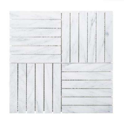 Hudson Carrara White 11.875 in. x 11.875 in. x 8 mm Honed Marble Linear Mosaic Floor and Wall Tile