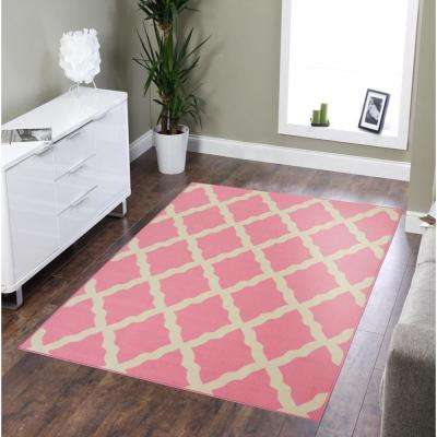 Clifton Collection Moroccan Trellis Design Pink 5 ft. x 7 ft. Area Rug