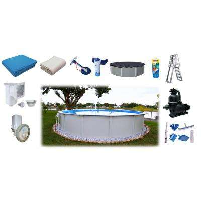 18 ft. Round x 52 in. D Above Ground Pool Package (11 Additional Items Included)