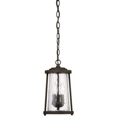 Haverford Grove Collection Oil Rubbed Bronze 3-Light Hanging Lantern with Clear Crackle Glass