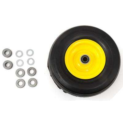 11 in. x 4 in. Flat Free Zero Turn Front Wheel Assembly with Ribbed Tread for John Deere