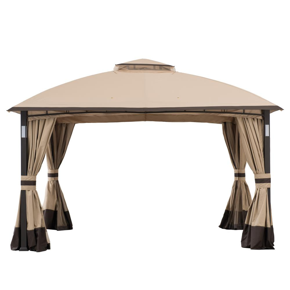 Sunjoy Wynonna 10 Ft X 12 Ft Tan And Brown Gazebo With Led Lighting And Bluetooth Sound 169292 The Home Depot