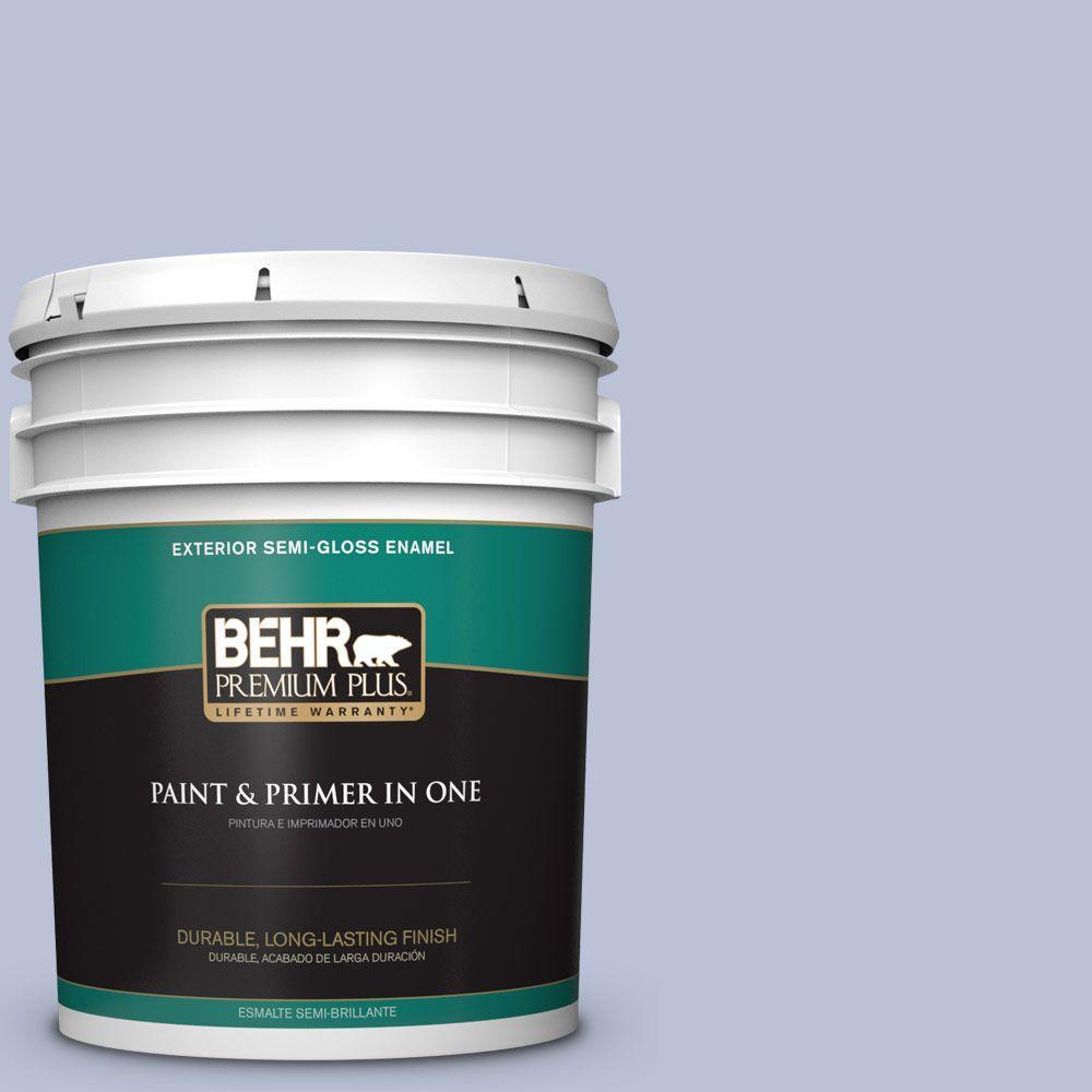 BEHR Premium Plus 5-gal. #590E-3 Hyacinth Tint Semi-Gloss Enamel Exterior Paint