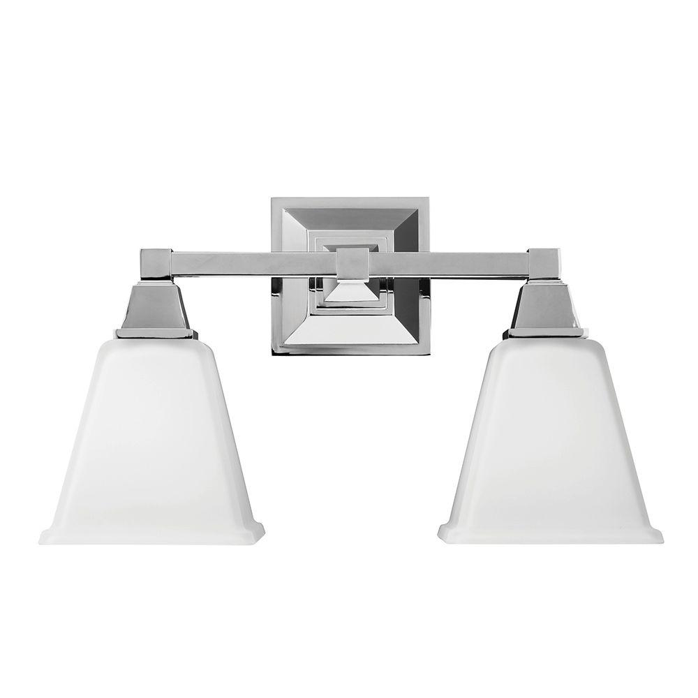 Sea Gull Lighting Denhelm 2 Light Chrome Wall/Bath Vanity Light With Inside  White