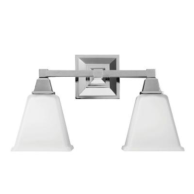 Denhelm 16.5 in. W. 2-Light Chrome Wall/Bath Vanity Light with Inside White Painted Etched Glass
