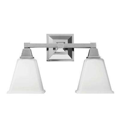 Denhelm 2-Light Chrome Wall/Bath Vanity Light with Inside White Painted Etched Glass