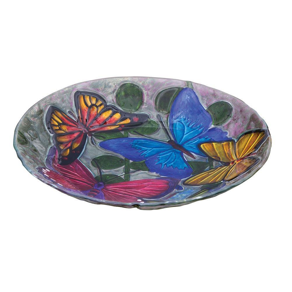 Evergreen Enterprises Butterfly Collage Glass Birdbath