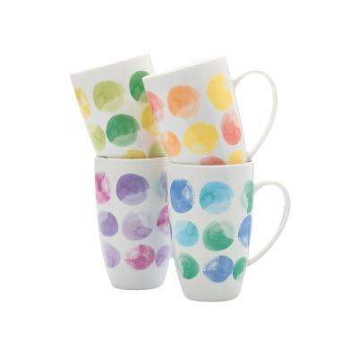 4-Piece Assorted Colors Drops Mug