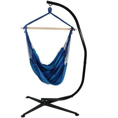 5 ft. Fabric Jumbo Hanging Chair Hammock Swing with Stand in Beach Oasis