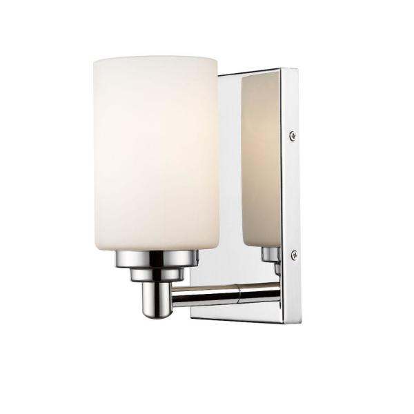 1-Light Chrome Wall Sconce with White Glass Shade