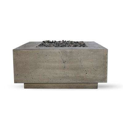 Santa Rosa 36 in. x 16 in. Square Concrete Liquid Propane Fire Pit in Pewter W/27 lbs. Bag of 0.75 in. Black Lava Rocks