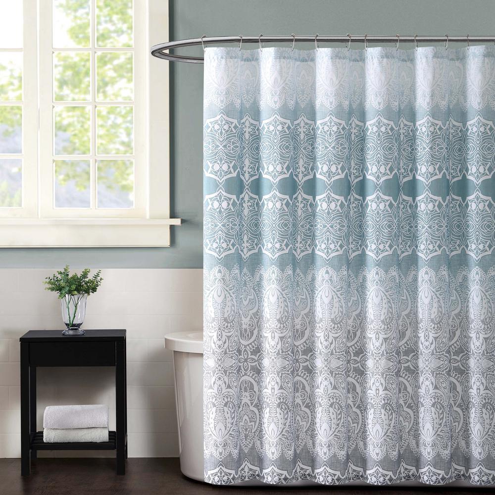 Ombre Lace Blue Shower Curtain