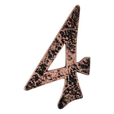 Hammered 6 in. Antique Copper House Number 4