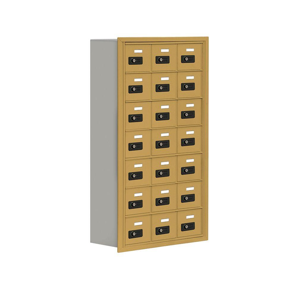 Salsbury Industries 19000 Series 24 in. W x 42 in. H x 8.75 in. D 21 A Doors R-Mounted Resettable Locks Cell Phone Locker in Gold