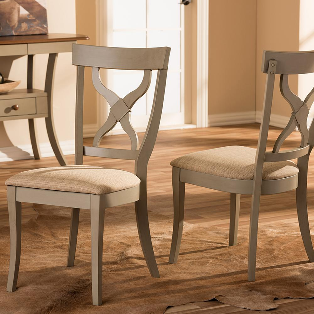 Baxton Studio Balm Beige Fabric And Distressed Gray Wood Dining Chairs Set Of 2