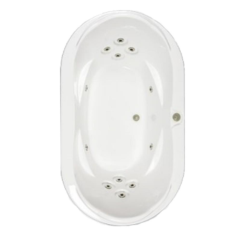 Premier 73 in. Acrylic Oval Drop-in Whirlpool Bath Bathtub in White