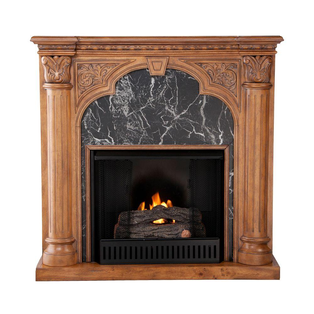 Southern Enterprises Savino 42 in. Gel Fuel Fireplace in Old World Oak-DISCONTINUED