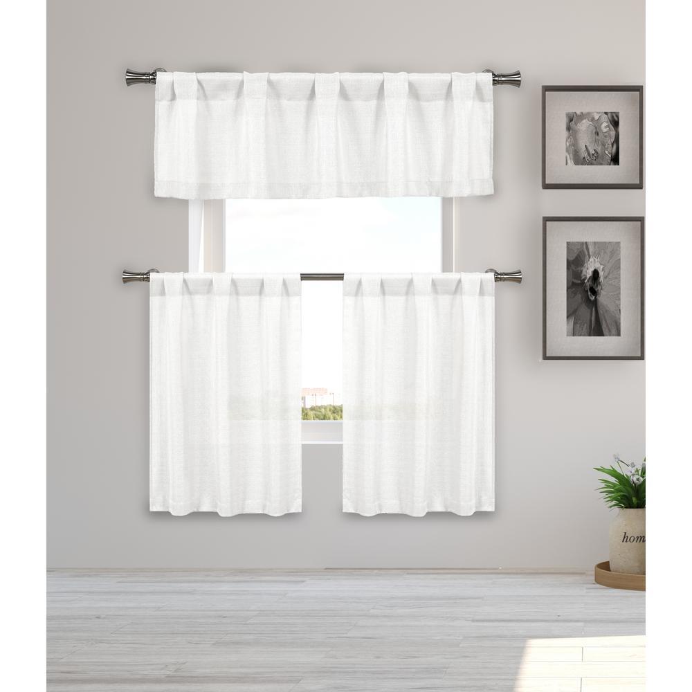 Kealy Metallic White Kitchen Curtain Set - 56 in. W x 15 in. L (3-Piece)