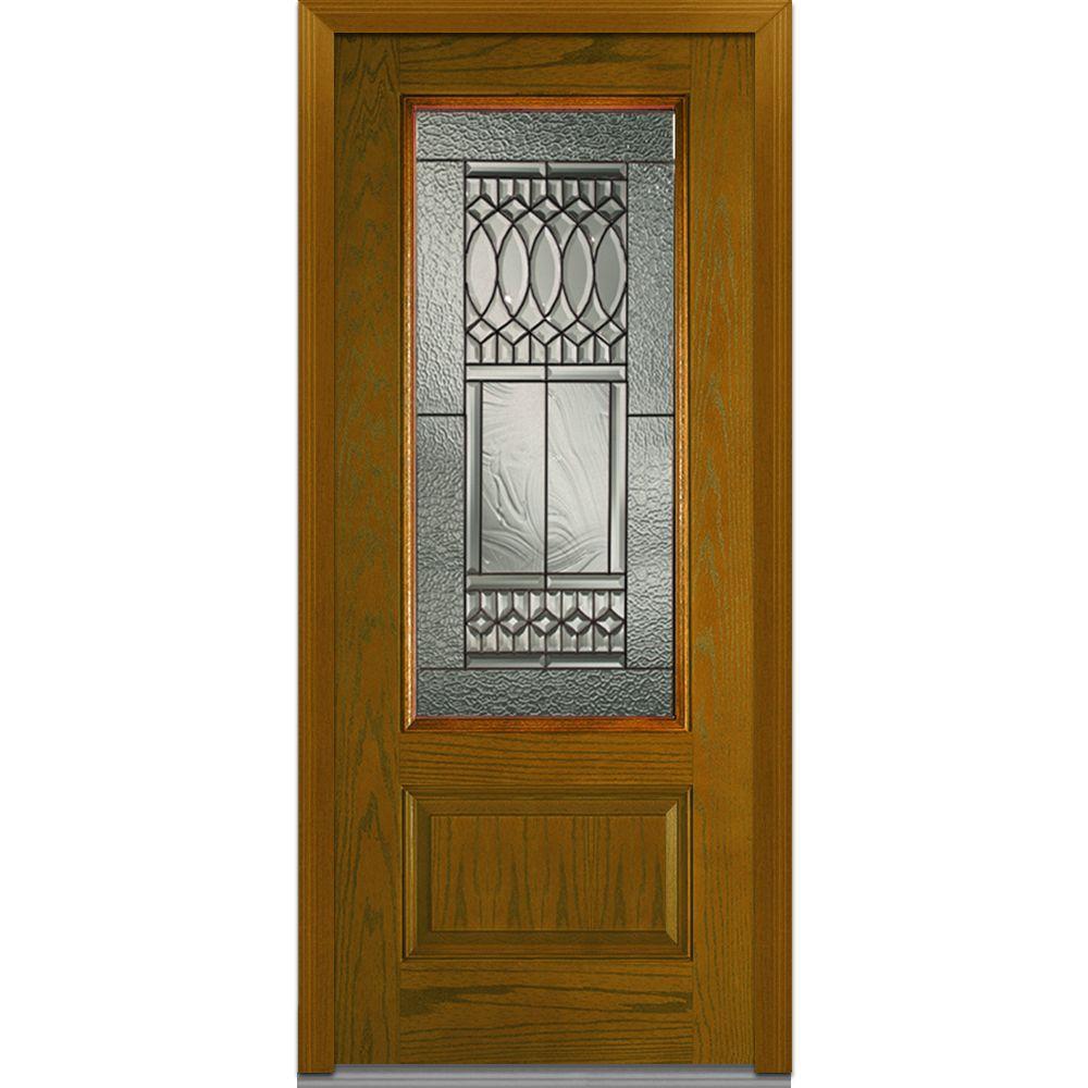 Milliken Millwork 36 in. x 80 in. Paris Decorative Glass 3/4 Lite 1-Panel Finished Oak Fiberglass Prehung Front Door