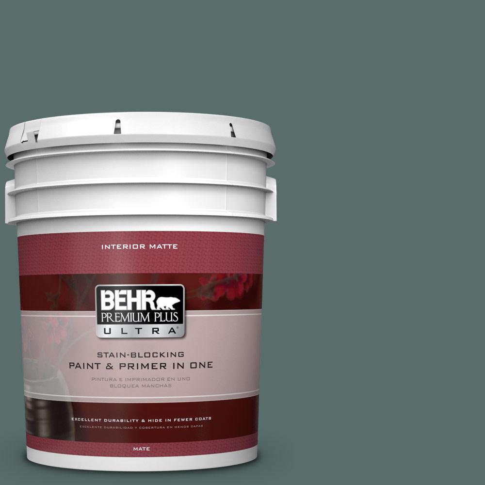 BEHR Premium Plus Ultra 5 gal. #490F-6 Agave Frond Flat/Matte Interior Paint