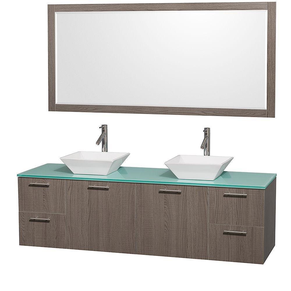 Amare 72 in. Double Vanity in Grey Oak with Glass Vanity Top in Aqua and Porcelain Sink
