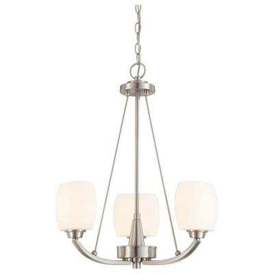 3-Light Ceiling Brushed Nickel Incandescent Chandelier