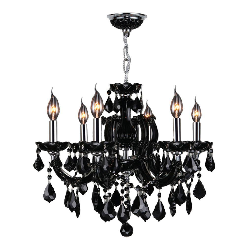 Catherine Collection 6-Light Polished Chrome with Black Crystal Chandelier