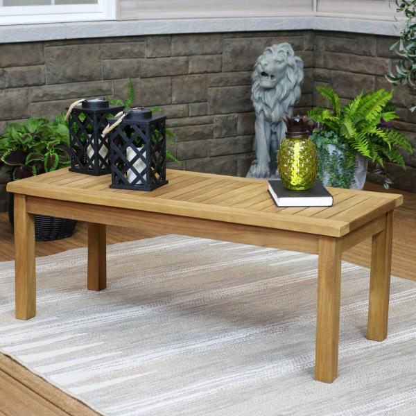 Sunnydaze Decor 45 In Teak Wooden Stain Finish Outdoor Patio Coffee Table Jva 339 The Home Depot