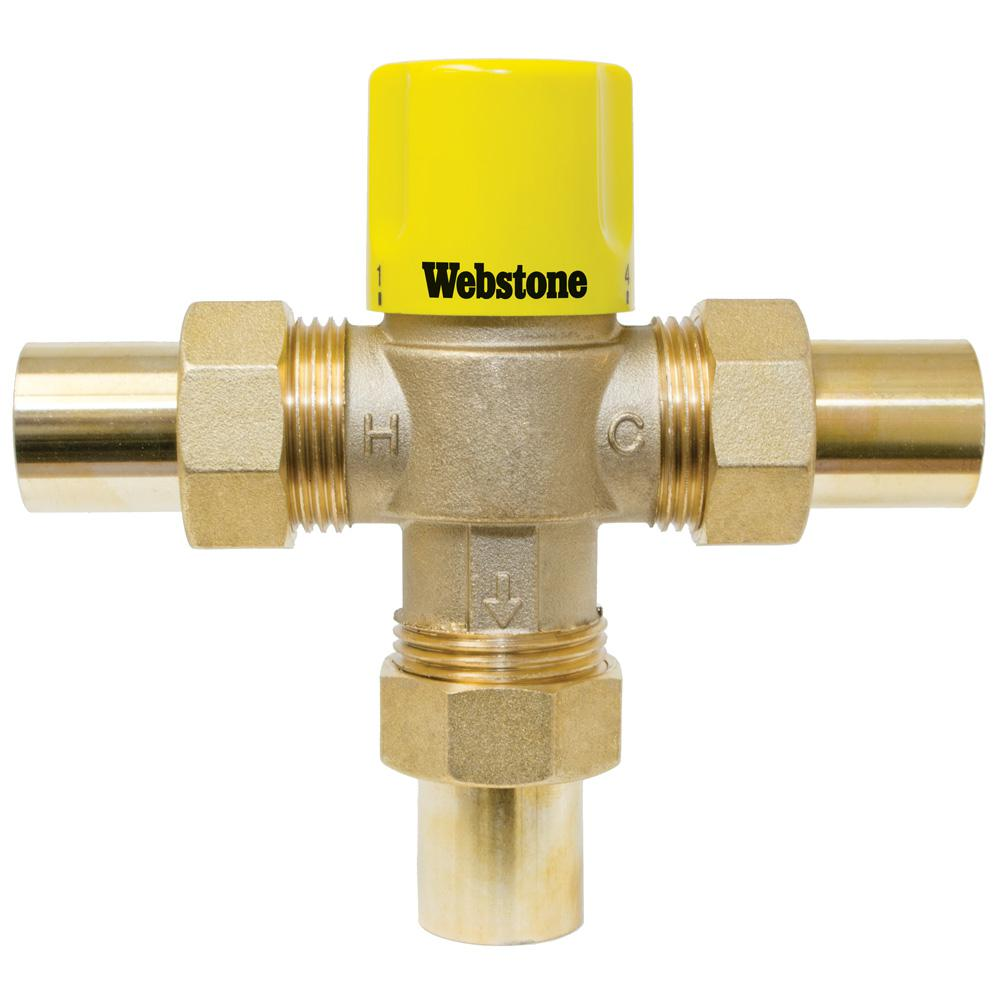 3/4 in. Swt Thermostatic Mixing Valve W/Temperature Locking Handle For Lowtemp