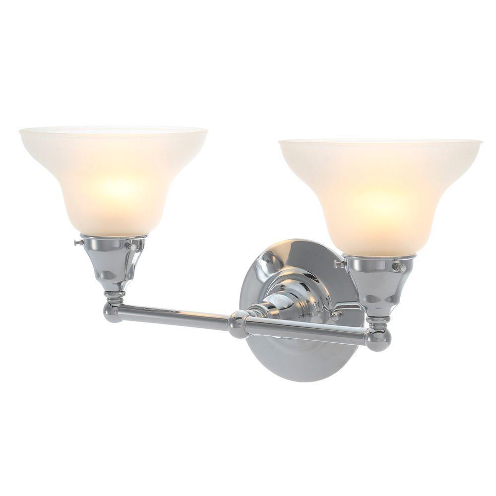 Asten Collection 2-Light Chrome Bath Bar Light