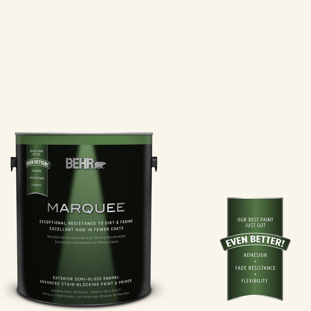 BEHR MARQUEE 1-gal. #OR-W15 Sleek White Semi-Gloss Enamel Exterior Paint