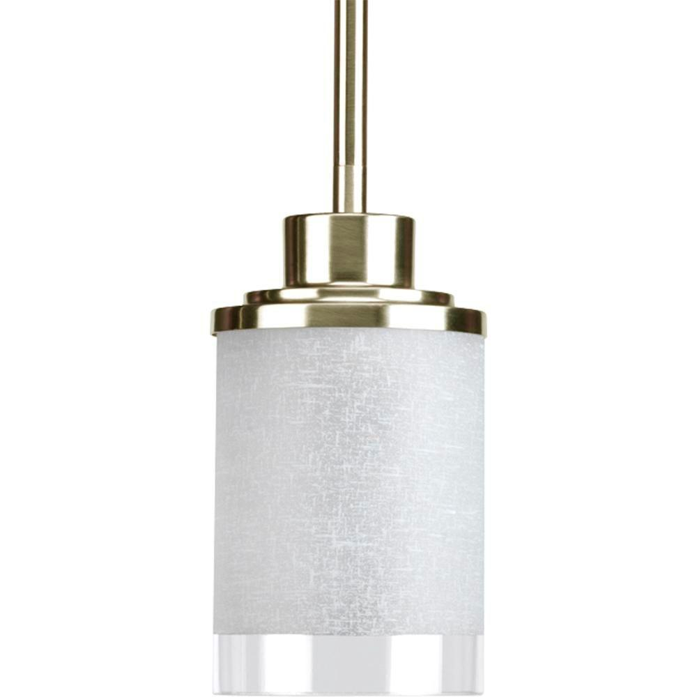 Alexa Collection 1-Light Brushed Nickel Mini Pendant with White Linen Glass
