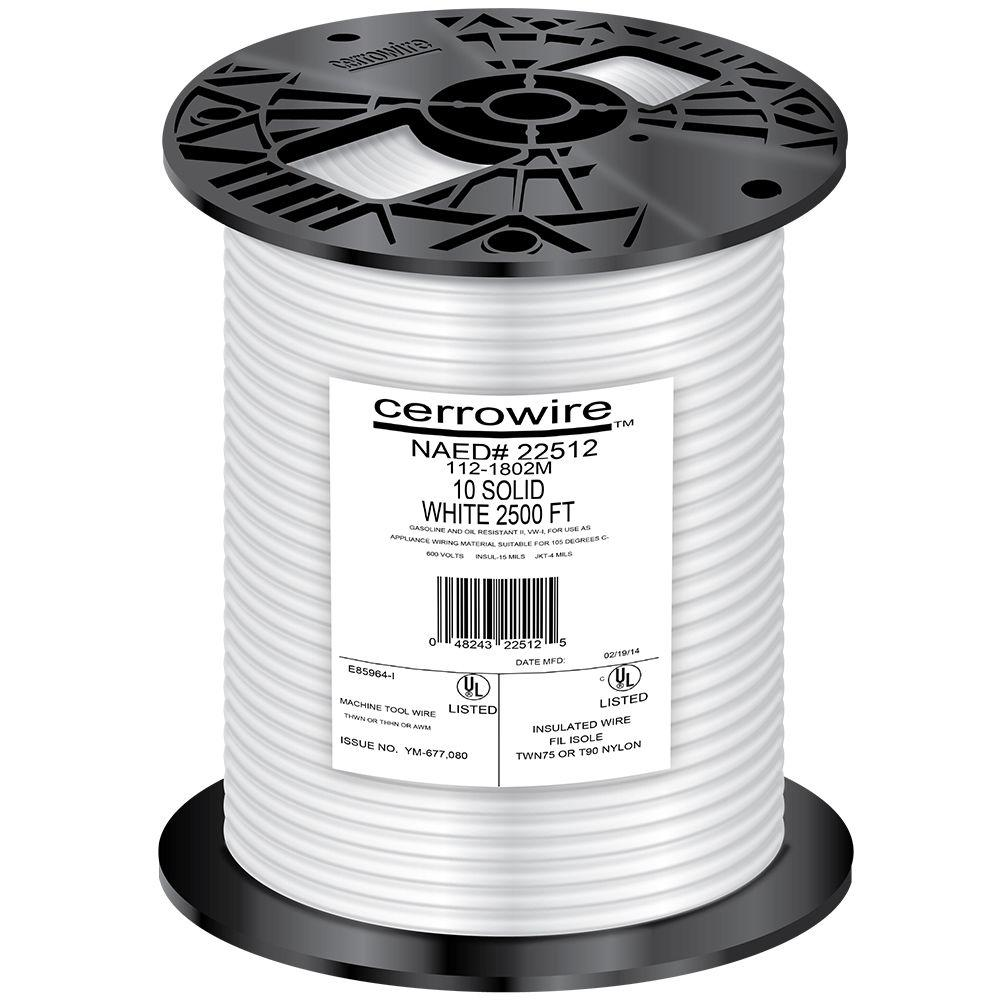 Cerrowire 2500 ft. 10-Gauge White Solid THHN Wire-112-1802M - The ...