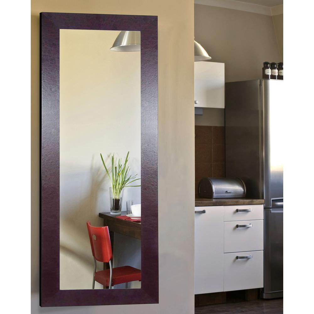 Wide vanity brown leather non beveled floor mirror