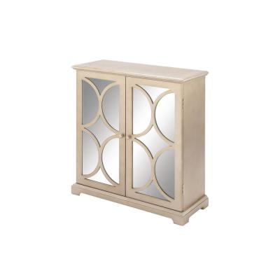 Modern Tan Wood and Mirror Cabinet with Half Circle Cut-Outs