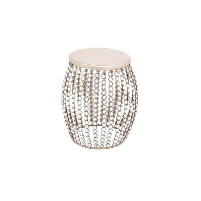 Silver Caged Iron Drum Stool with Acrylic Beads