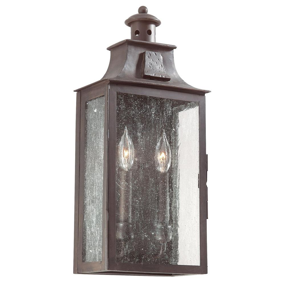 Troy lighting newton 2 light old bronze outdoor wall mount lantern troy lighting newton 2 light old bronze outdoor wall mount lantern bcd9008obz the home depot arubaitofo Images