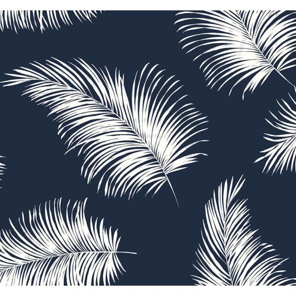Luxe Haven Navy Blue Tossed Palm Peel and Stick Wallpaper (Covers 40.5 sq. ft.)