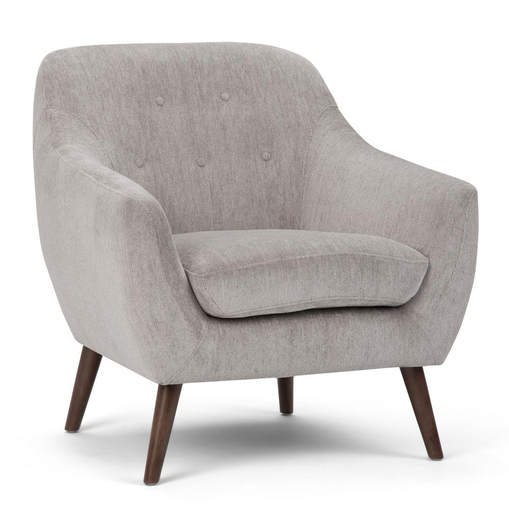 Simpli home brennley dove grey arm chair