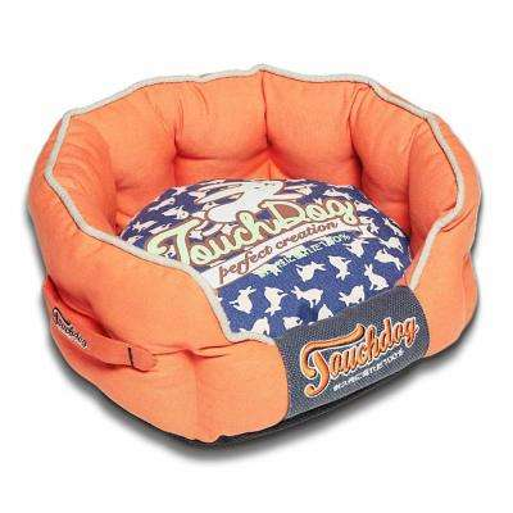 Large Orange and Ocean Blue Bed