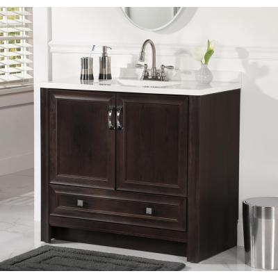 Candlesby 37 in. W x 19 in. D Bathroom Vanity in Pewter with Cultured Marble Vanity Top in White