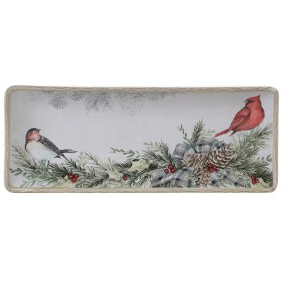 Holly and Ivy Multi-Colored 14.5 in. Earthenware Rectangular Platter