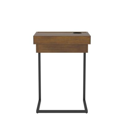 Evrard Black and Light Walnut Laptop End Table with Cup Holder