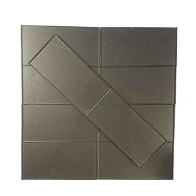 Metallics Brown 3 in. x 6 in. Glass Wall Tile (1 sq. ft. / pack)