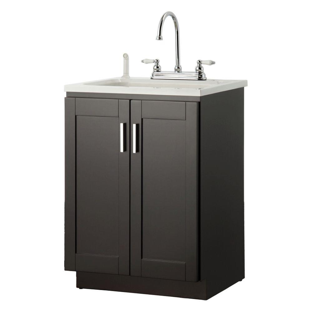 Laundry Vanity In Espresso And Abs Sink White Faucet