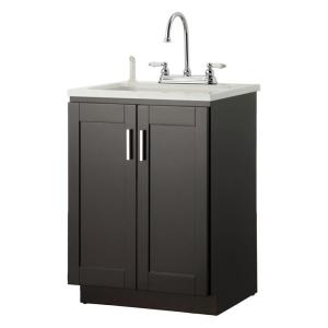 Laundry Vanity In Espresso And Abs Sink White Faucet Kit Plea2421 The Home Depot