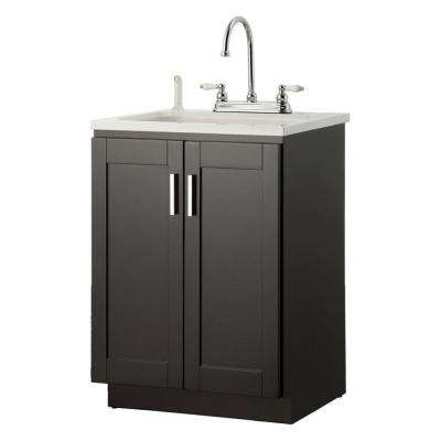 Palmero 24 in. Laundry Vanity in Espresso and ABS Sink in White and Faucet Kit