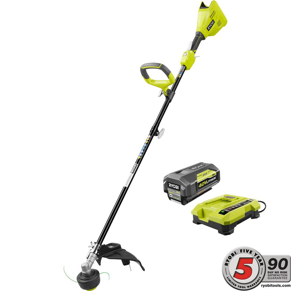 Ryobi 40 Volt Lithium Ion Brushless Electric Cordless Attachment Capable String Trimmer 3 0