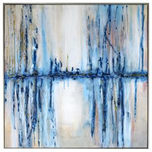 36 In X 36 In Mystique Waterfall By Ashleigh Fleenor Hand Painted Framed Canvas Wall Art