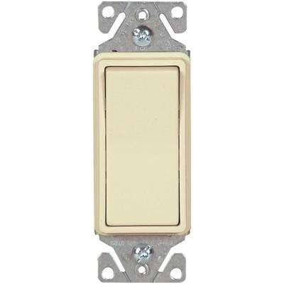 15 Amp 120/277-Volt Heavy-Duty Grade Single-Pole Decorator Lighted Rocker Switch with Back and Push Wire, Almond